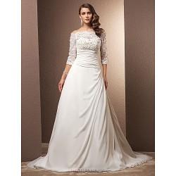 A-line/Princess Plus Sizes Wedding Dress - Ivory Court Train Off-the-shoulder Chiffon