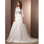 A-line/Princess Plus Sizes Wedding Dress - Ivory Court Train Off-the-shoulder Chiffon Wedding Dresses