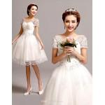 A-line Short/Mini Wedding Dress - V-neck Tulle Wedding Dresses