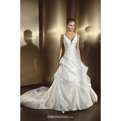 A Line Wedding Dress Court Train Floor Length Straps Satin Chiffon