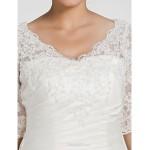 A-line Petite / Plus Sizes Wedding Dress - Ivory Chapel Train V-neck Taffeta Wedding Dresses