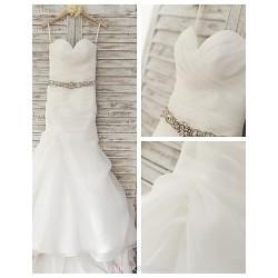 Trumpet Mermaid Wedding Dress Ivory Sweep Brush Train Sweetheart Organza