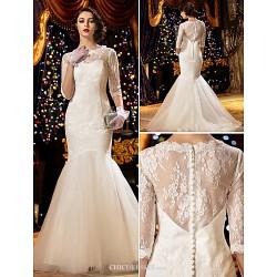 Trumpet Mermaid Wedding Dress White Sweep Brush Train Scoop Lace
