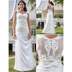 Sheath Column Plus Sizes Wedding Dress Ivory Floor Length V Neck Tulle Lace