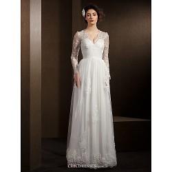 A-line Wedding Dress - Ivory Floor-length V-neck Lace/Tulle