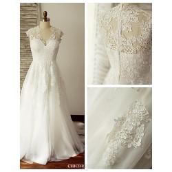 A-line Wedding Dress - Ivory Sweep/Brush Train V-neck Lace / Tulle