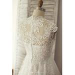 A-line Wedding Dress - Ivory Sweep/Brush Train V-neck Lace / Tulle Wedding Dresses