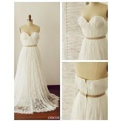 A-line Wedding Dress - Ivory Sweep/Brush Train Sweetheart Lace