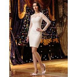 Sheath/Column Wedding Dress - Ivory Short/Mini Jewel Lace