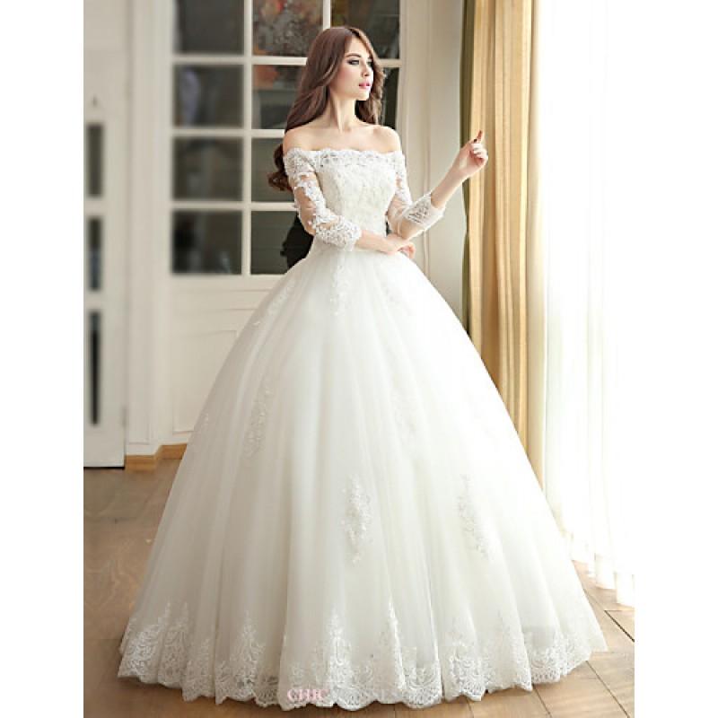 Ball gown wedding dress ivory floor length off the for Medium length wedding dresses