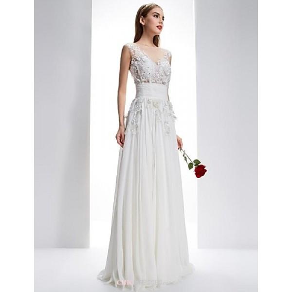 Dress - White A-line Bateau / Scalloped Sweep/Brush Train Chiffon / Lace Wedding Dresses
