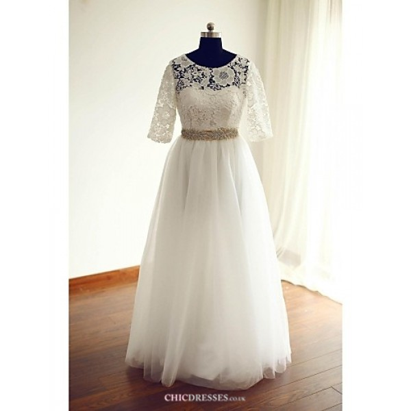 A-line Wedding Dress - Ivory Floor-length Jewel Lace / Tulle Wedding Dresses