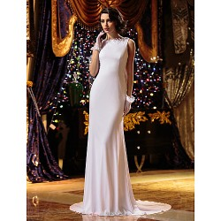 Sheath Column Wedding Dress White Court Train Jewel Knit