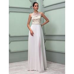 Sheath Column Plus Sizes Wedding Dress Ivory Floor Length High Neck Chiffon Lace