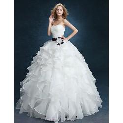 Ball Gown Wedding Dress - White Floor-length Sweetheart Velvet Chiffon