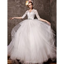Ball Gown Court Train Wedding Dress V Neck Tulle