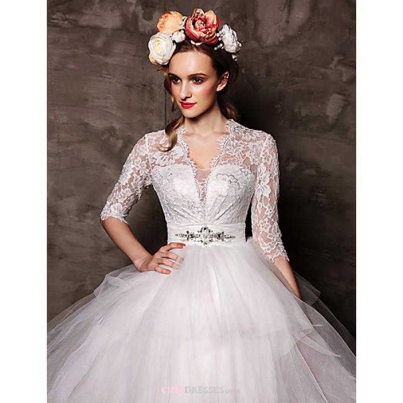 Cheap Wedding Gowns Uk: Ball Gown Court Train Wedding Dress -V-neck Tulle,Cheap Uk