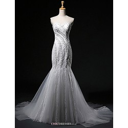 Trumpet Mermaid Wedding Dress White & Champagne (color May Vary By Monitor) Court Train Sweetheart