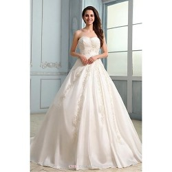 A-line Wedding Dress - White Court Train Strapless Taffeta