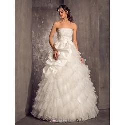A-line/Princess Plus Sizes Wedding Dress - Ivory Floor-length Strapless Taffeta/Organza
