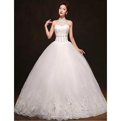 Ball Gown Floor Length Wedding Dress High Neck Tulle