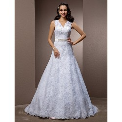 A Line Princess Plus Sizes Wedding Dress White Court Train V Neck Lace