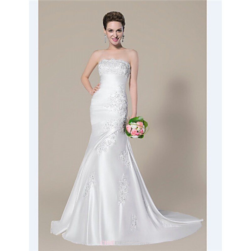 d8cddc8e1bc Dress - Ivory Petite   Plus Sizes Trumpet Mermaid Strapless   Sweetheart  Court Train Charmeuse