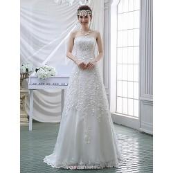 Sheath Column Wedding Dress White Sweep Brush Train Strapless Lace