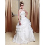 A-line/Princess Plus Sizes Wedding Dress - Ivory Floor-length Strapless Satin/Organza Wedding Dresses