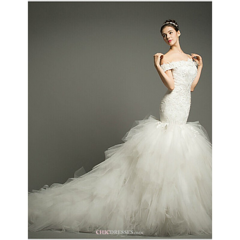 be30f90180d9 Fit & Flare Chapel Train Wedding Dress -Off-the-shoulder Tulle Wedding  Dresses