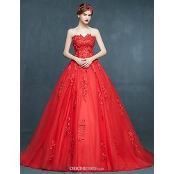Ball Gown Wedding Dress Ruby Sweep Brush Train Sweetheart Tulle