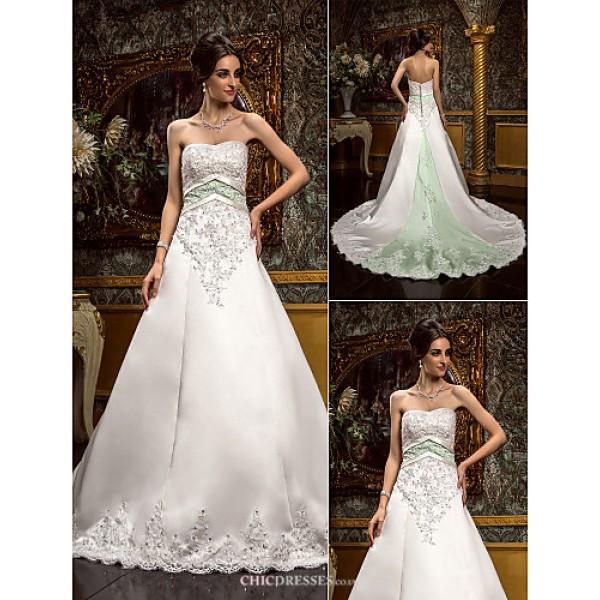 A-line Plus Sizes Wedding Dress - Ivory Chapel Train Sweetheart Satin/Lace Wedding Dresses