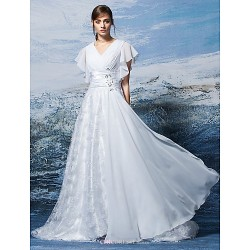 A Line Wedding Dress White Sweep Brush Train V Neck Chiffon