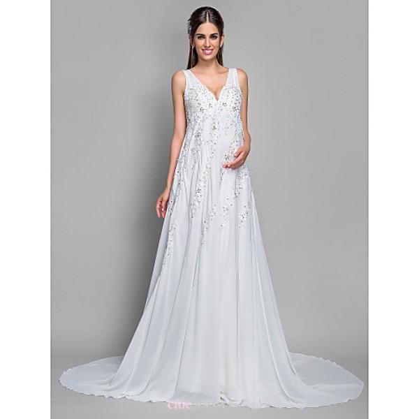 A-line Maternity Wedding Dress - Ivory Court Train V-neck Chiffon/Lace Wedding Dresses