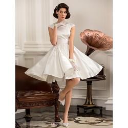 A Line Princess Plus Sizes Wedding Dress Ivory Knee Length Jewel Satin