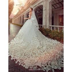 A Line,Princess Cathedral Train Wedding Dress Strapless Satin