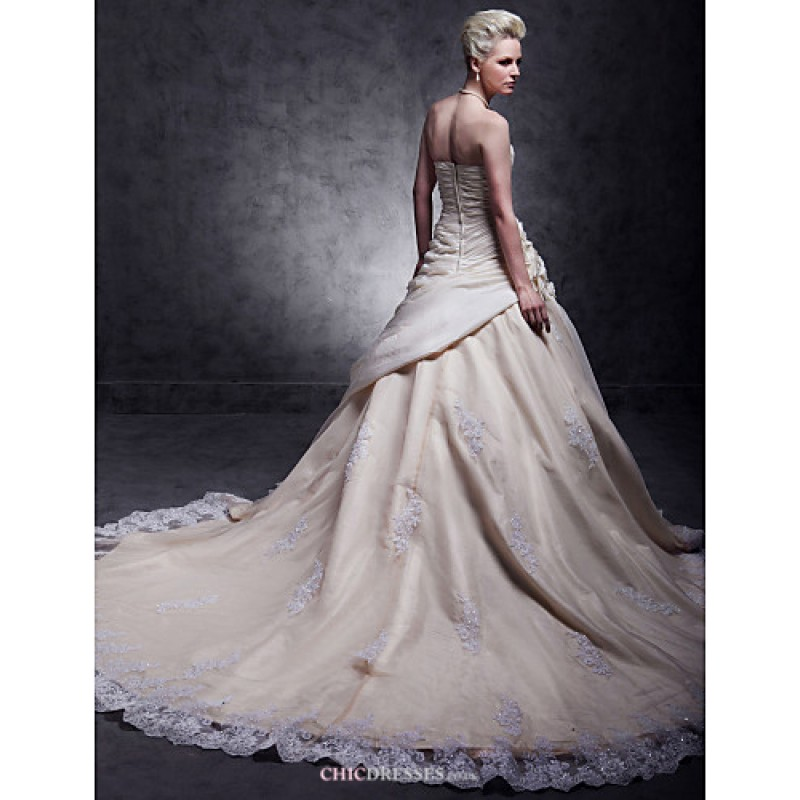 A line plus sizes wedding dress champagne cathedral for Plus size champagne colored wedding dresses