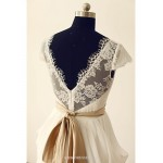 A-line Wedding Dress - Ivory Floor-Length Lace/Chiffon/V Neckline Wedding Dresses
