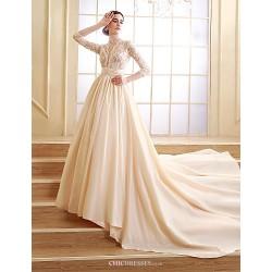 A-line Petite Wedding Dress - Champagne Court Train Scalloped-Edge Taffeta
