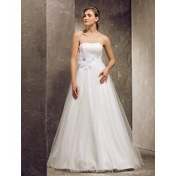 A-line Plus Sizes Wedding Dress - Ivory Floor-length Strapless Tulle