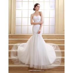 Trumpet Mermaid Sweep Brush Train Wedding Dress Sweetheart Tulle