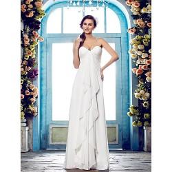 Sheath/Column Plus Sizes Wedding Dress - Ivory Floor-length Spaghetti Straps Chiffon