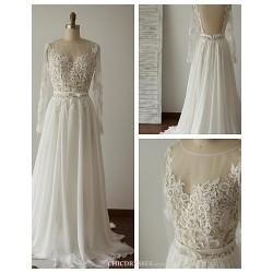 A-line Wedding Dress - Ivory Sweep/Brush Train Scoop Chiffon / Lace