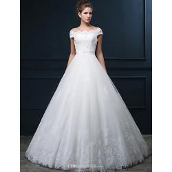 A Line Wedding Dress White Floor Length Off The Shoulder Tulle