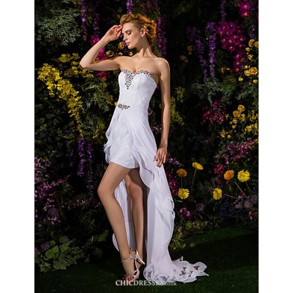 Sheath/Column Wedding Dress - White Asymmetrical Sweetheart Chiffon/Lace Wedding Dresses