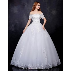 Ball Gown Wedding Dress White Floor Length Off The Shoulder Organza