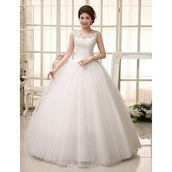 Ball Gown Floor Length Wedding Dress Straps Lace