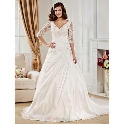 Ball Gown Plus Sizes Wedding Dress Ivory Chapel Train V Neck Taffeta