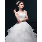 Ball Gown Wedding Dress - Ivory Floor-length Scoop Organza / Satin Wedding Dresses
