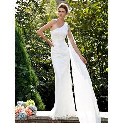 Trumpet/Mermaid Plus Sizes Wedding Dress - Ivory Sweep/Brush Train One Shoulder Lace